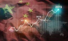 Statistique croissante 2019 financier contre le drapeau de la Chine illustration libre de droits