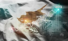 Statistique croissante 2019 financier contre le drapeau de la Chypre illustration libre de droits
