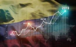 Statistique croissante 2019 financier contre le drapeau de la Colombie illustration stock