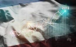 Statistique croissante 2019 financier contre le drapeau de la Crimée illustration de vecteur