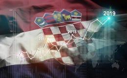 Statistique croissante 2019 financier contre le drapeau de la Croatie illustration de vecteur
