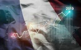 Statistique croissante 2019 financier contre le drapeau de la France illustration stock