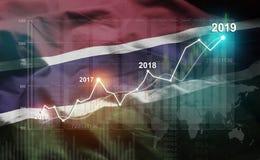 Statistique croissante 2019 financier contre le drapeau de la Gambie illustration stock