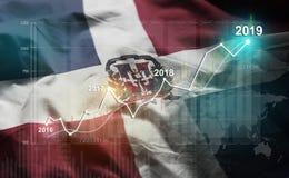 Statistique croissante 2019 financier contre le drapeau de la République Dominicaine  illustration stock