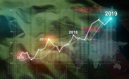 Statistique croissante 2019 financier contre le drapeau de la Zambie image stock