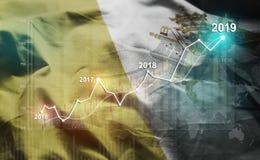 Statistique croissante 2019 financier contre le drapeau de Ville du Vatican photos stock