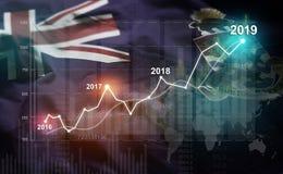 Statistique croissante 2019 financier contre le drapeau des Îles Caïman illustration de vecteur