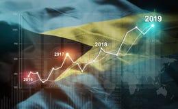 Statistique croissante 2019 financier contre le drapeau des Bahamas illustration stock