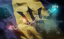 Statistique croissante 2019 financier contre le drapeau des Barbade illustration stock