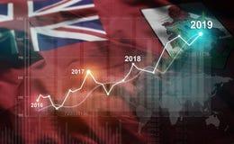 Statistique croissante 2019 financier contre le drapeau des Bermudes illustration libre de droits