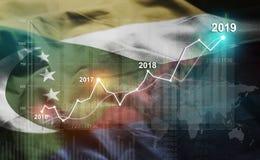 Statistique croissante 2019 financier contre le drapeau des Comores illustration de vecteur