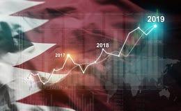 Statistique croissante 2019 financier contre le drapeau du Bahrain illustration stock