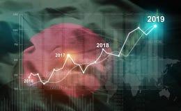 Statistique croissante 2019 financier contre le drapeau du Bangladesh illustration libre de droits
