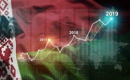 Statistique croissante 2019 financier contre le drapeau du Belarus illustration stock