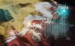 Statistique croissante 2019 financier contre le drapeau du Bhutan illustration de vecteur