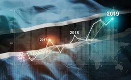 Statistique croissante 2019 financier contre le drapeau du Botswana illustration stock