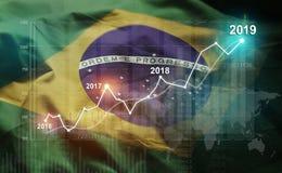 Statistique croissante 2019 financier contre le drapeau du Brésil illustration de vecteur