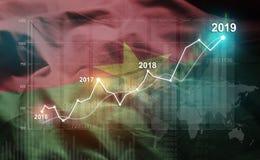 Statistique croissante 2019 financier contre le drapeau du Burkina Faso illustration stock