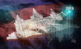 Statistique croissante 2019 financier contre le drapeau du Cambodge illustration stock