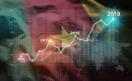 Statistique croissante 2019 financier contre le drapeau du Cameroun illustration de vecteur