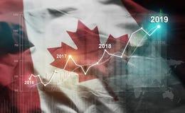 Statistique croissante 2019 financier contre le drapeau du Canada illustration libre de droits