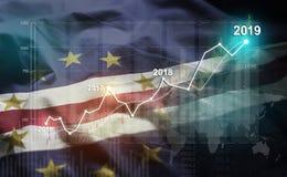 Statistique croissante 2019 financier contre le drapeau du Cap Vert illustration de vecteur