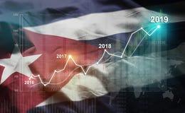Statistique croissante 2019 financier contre le drapeau du Cuba illustration stock