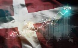 Statistique croissante 2019 financier contre le drapeau du Danemark illustration libre de droits