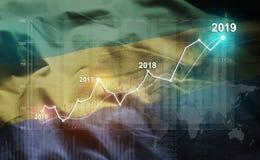 Statistique croissante 2019 financier contre le drapeau du Gabon illustration libre de droits