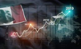 Statistique croissante 2019 financier contre le drapeau du sud français illustration de vecteur