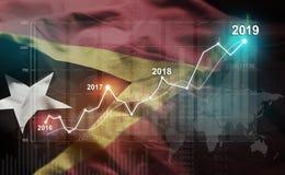 Statistique croissante 2019 financier contre le drapeau du Timor oriental illustration de vecteur