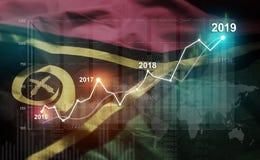 Statistique croissante 2019 financier contre le drapeau du Vanuatu photos stock