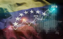 Statistique croissante 2019 financier contre le drapeau du Venezuela photo libre de droits