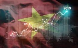 Statistique croissante 2019 financier contre le drapeau du Vietnam images stock