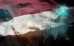 Statistique croissante 2019 financier contre le drapeau du Yémen images libres de droits