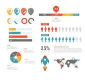 Statistique hommes-femmes de barre de chargement de graphique circulaire de fusée de carte d'Infographic Images libres de droits