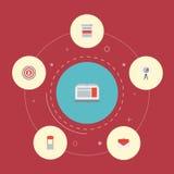 Statistique plate d'icônes, publicité, ordinateur portable et d'autres éléments de vecteur Photos libres de droits