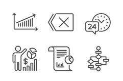 Statistiques de Seo, ensemble d'icônes de diagramme et de rapport le service 24h, enlèvent et des signes de schéma fonctionnel Ve illustration stock