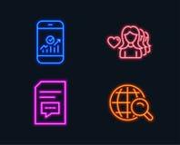 Statistiques de Smartphone, amour de femme et icônes de commentaires Signe de recherche d'Internet Images stock