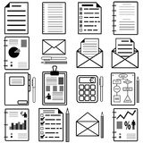Statistiques et icônes de dossier d'analytics. Vecteur Photographie stock