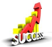 Statistiques graphiques avec le mot de réussite Photo stock