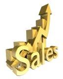 statistiques graphiques de ventes d'or Photographie stock libre de droits