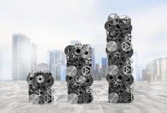 Statistische analyse met mechanische systemen het 3d teruggeven Royalty-vrije Stock Afbeelding