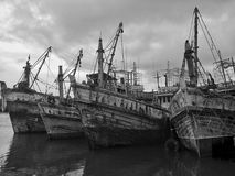 Statki czeka spokój czy przy portem PakPaNang, Tajlandia Fotografia Stock