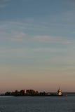 Statki i nabrzeże zmierzch w Kronstadt Zdjęcie Stock