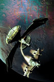 Statki kosmiczni i planeta Zdjęcia Royalty Free