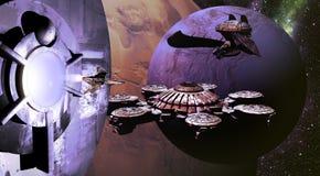 Statki kosmiczni i planety ilustracja wektor