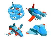Statki kosmiczni isometric Budynek technologia różnorodni typ statku ładunku okrętu wojennego bombowiec i powietrzny 3d wektorowy ilustracji