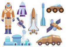 Statki kosmiczni, kolonia budynek, rakieta, kosmonauta w astronautycznym kostiumu, satelita i mącą robota włóczęgi set Wektorowa  ilustracji