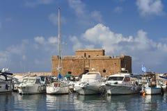 Statki w porcie na tle forteca Paphos Cypr Obraz Royalty Free